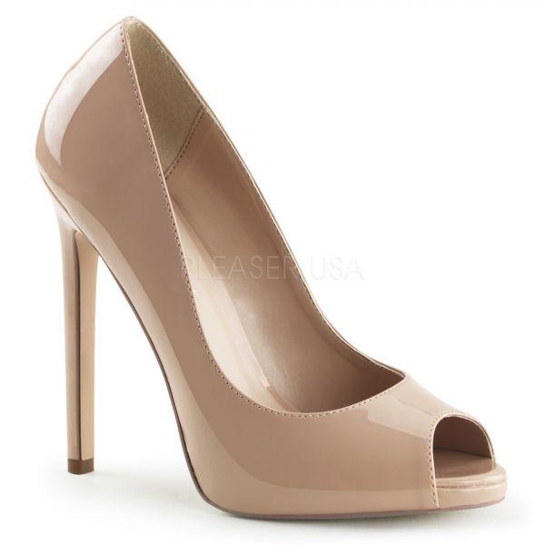 Peep Toe Stiletto High-Heels mit kleinem eingearbeiteten Plateau in nude Lack SEXY-42